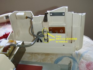 Brother Knitting Machine Repair 07 - Cable retainer