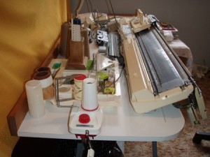 knitting machine table side